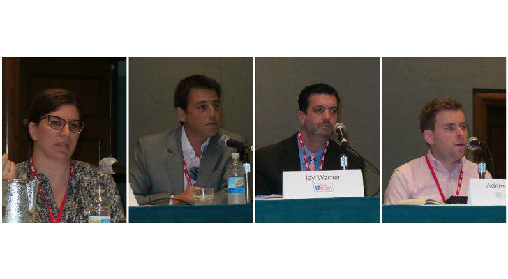Note: Photos, left to right: Andrea Collaro, director of private brands — OTC for Walgreen Co.; Rodrigo Korenblit Olave, manager of private label for Cencosud S.A.; Jay Warner, store brand category manager for Good Neighbor Pharmacy/AmerisourceBergen Corp.; and Adam Swallow, senior brand manager for Walgreens Boots Alliance