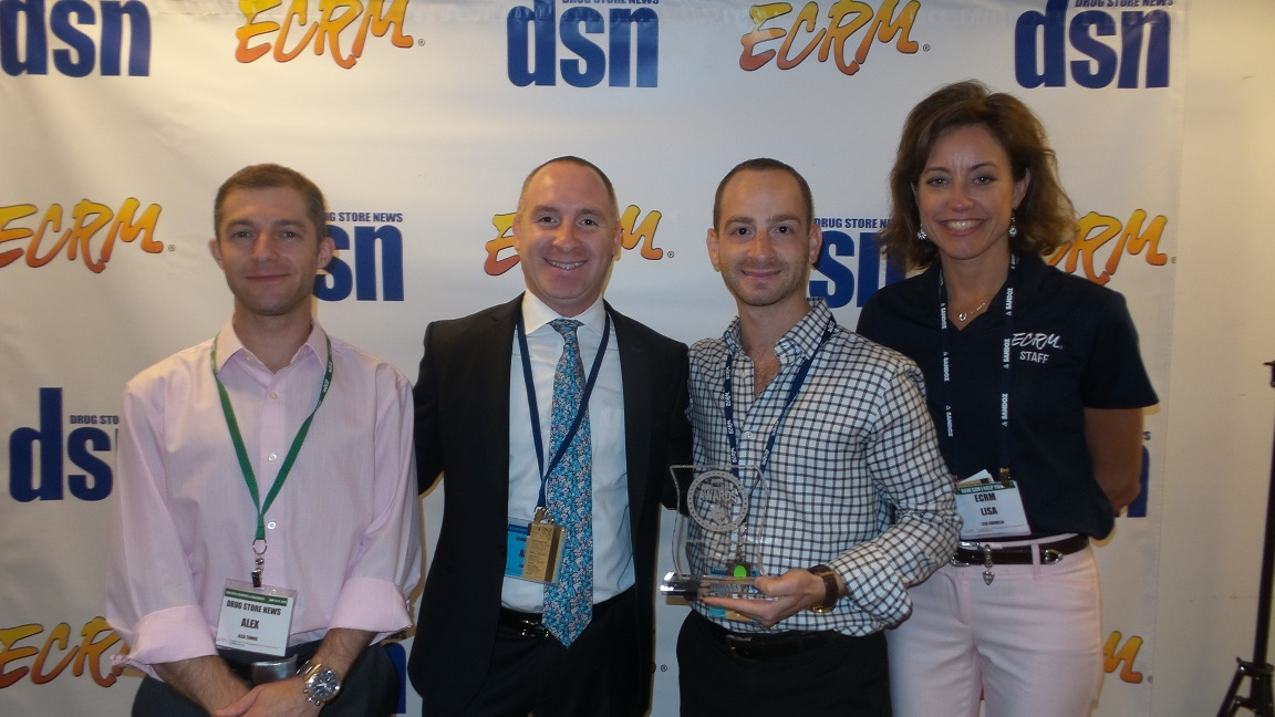 From L: DSN's Alex Tomas, New Product Award Finalist Global Beauty Care's Albert Savdie and Jack Savdie, ECRM's Lisa Carrillo