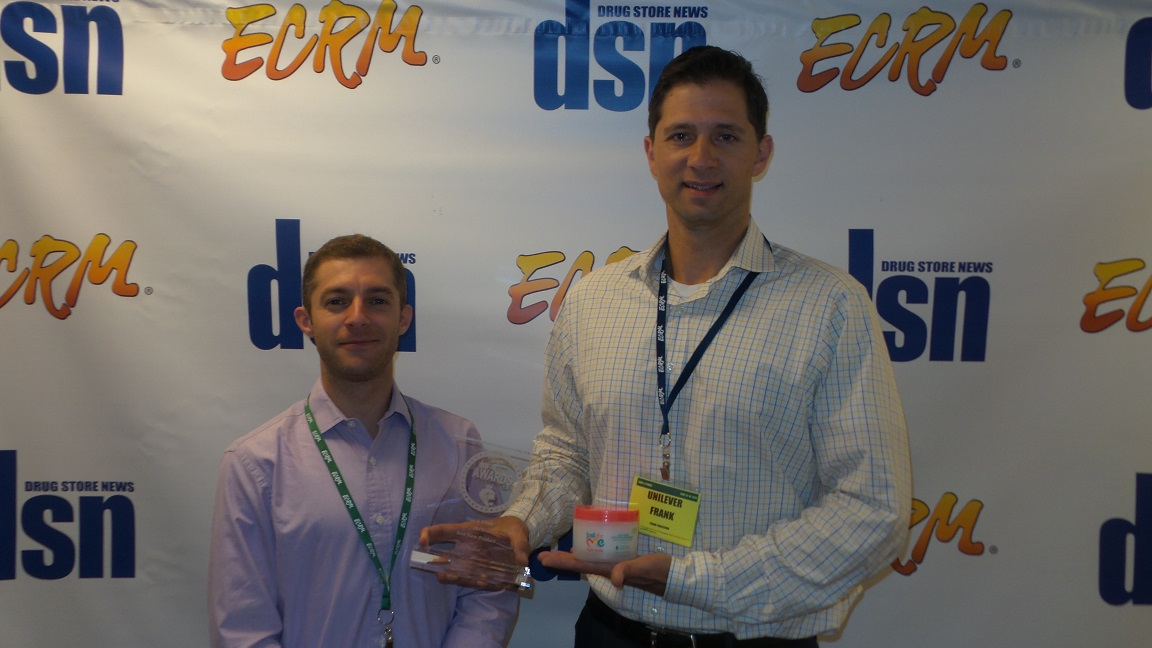 DSN's Alex Tomas with New Product Award Finalist Unilever's Frank Carlesimo, consumer brand planning manager – hair care