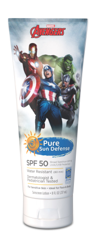 "Pure Sun Defense lotion featuring Marvel box office smash ""Avengers: Age of Ultron"" characters"