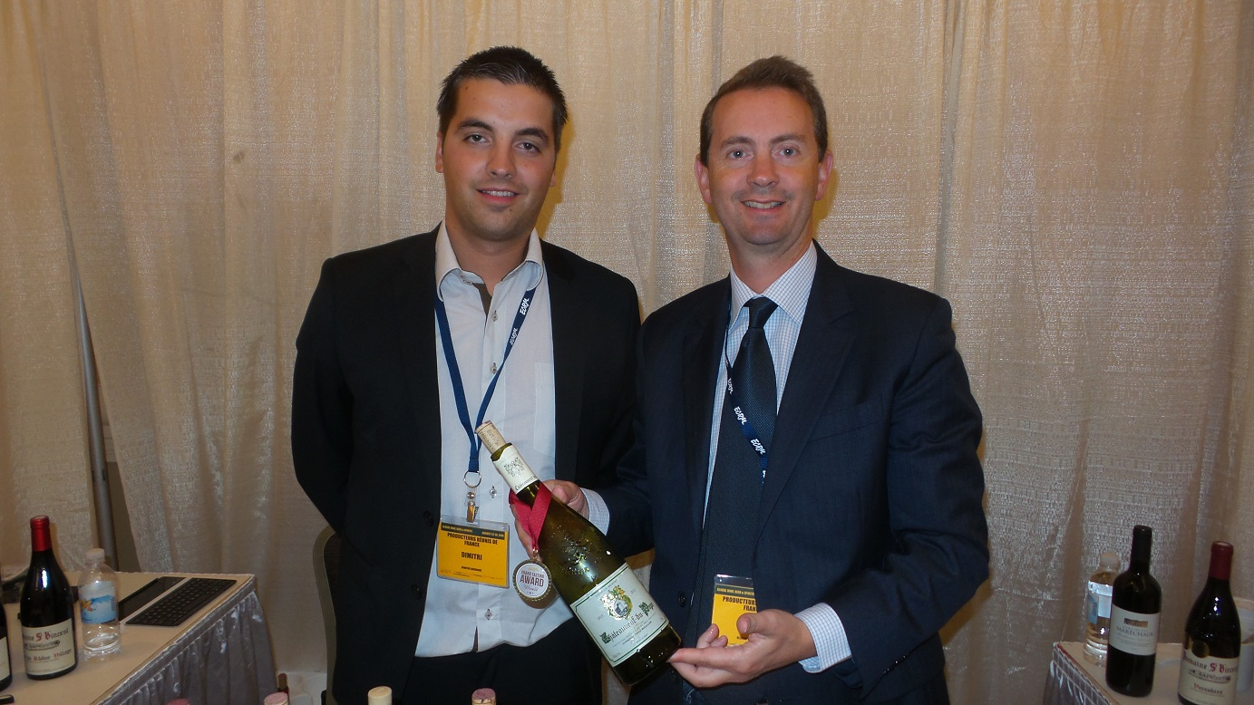 From left: Dimitri Ducroux, VP of Sales, and Olivier Barrillon, On-Premise Award winner Producteurs Réunis de France