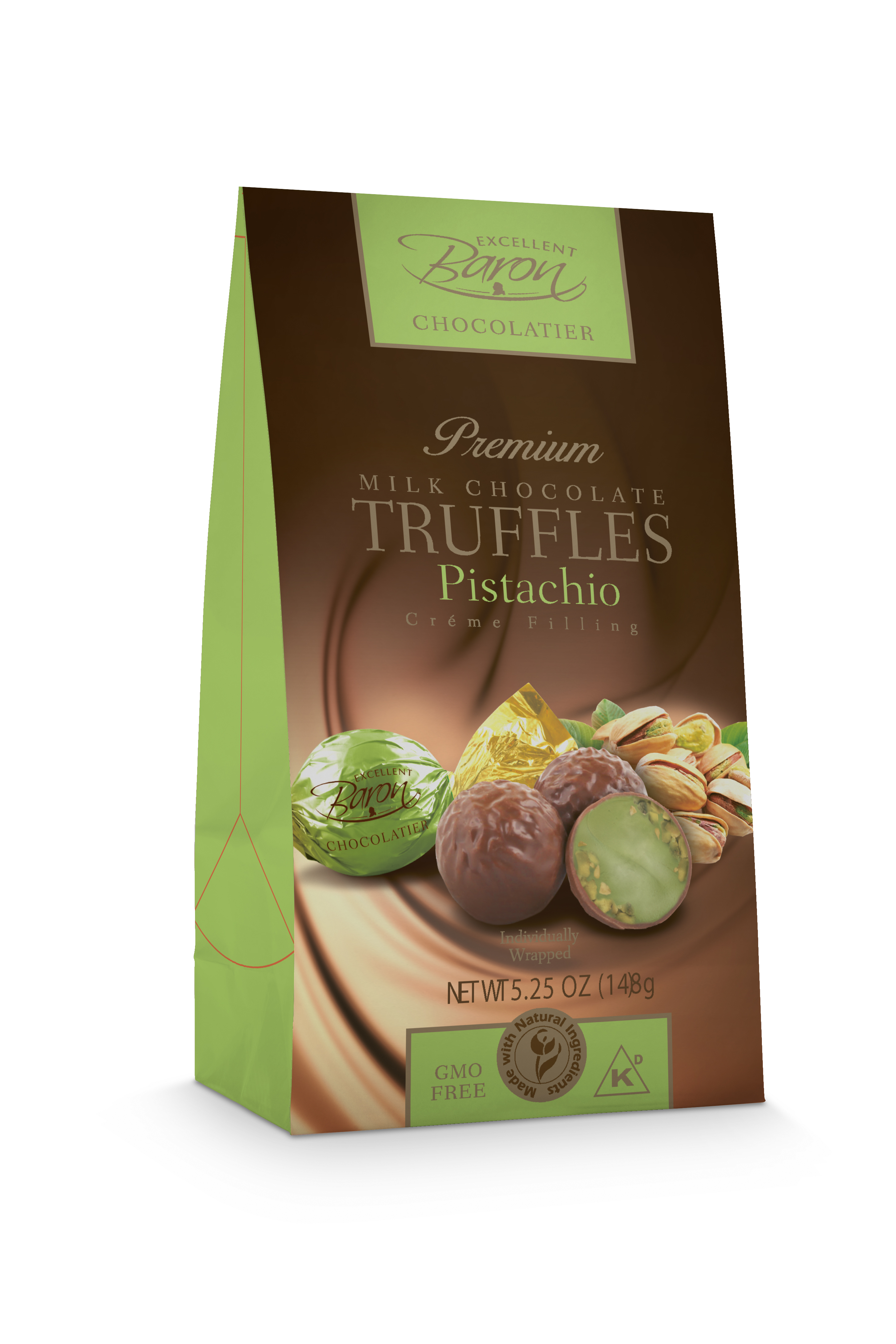 New Milk Chocolate with Pistachio Crème Filling by European Chocolate/ Milano (Excellent Baron Chocolatier)