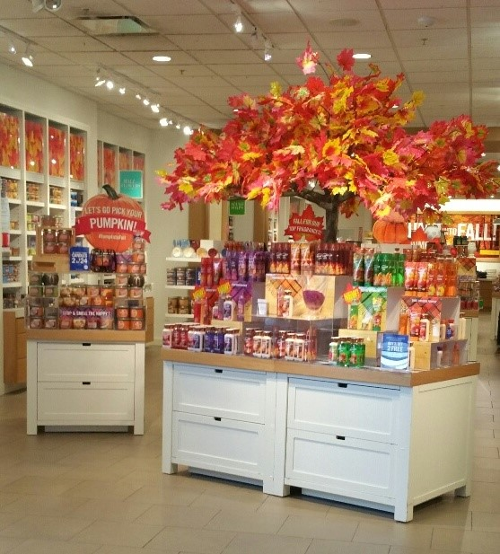 At Bath & Body Works each season brings a new retail atmosphere with fall foliage and seasonal signage to draw in customers.