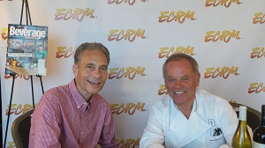 Beverage Industry Publisher Steve Pintarelli (left) with Chef Wolfgang Puck