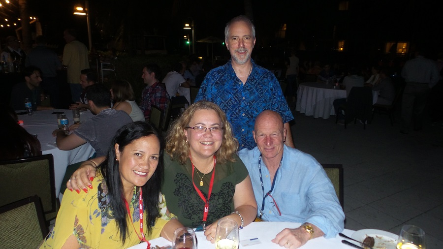 From left: AThe Warehouse Ltd.'s Cari Tipina and Michelle; Briant Burke, CEO of Naturopathix (standing) and Chip Carter, mana
