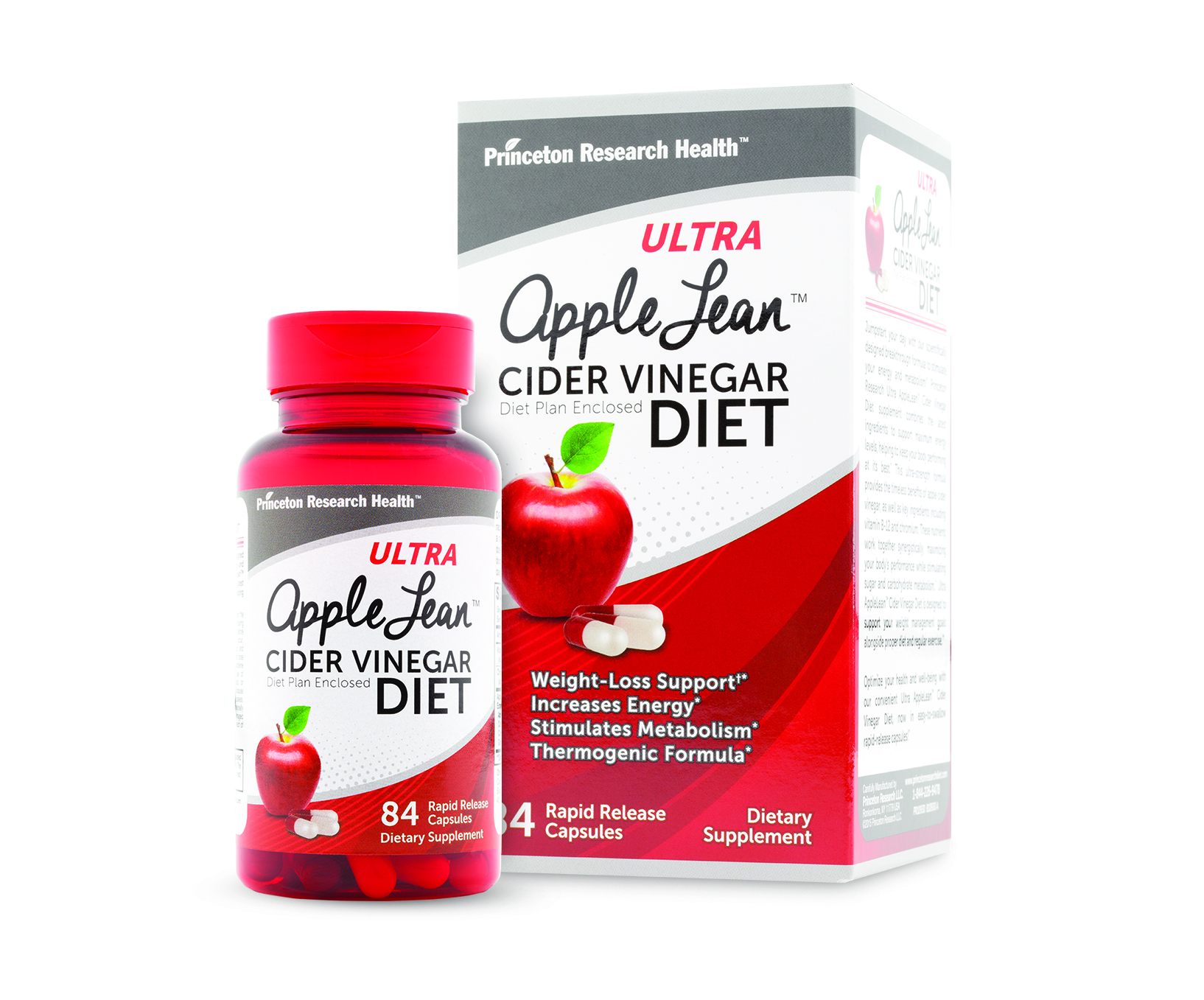 Ultra AppleLean™ Cider Vinegar diet supplements, now in easy-to-swallow rapid-release capsules by Piping Rock Health Products