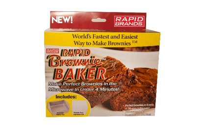 Rapid Brownie Baker! Now you can make perfect brownies in 4 minutes.  By Rapid Brands.