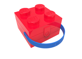 Classic LEGO Brick made into sturdy fun lunch box with handle by Room Copenhagen, Inc.