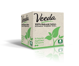 Veeda 100% Natural Tampon with Plastic Applicator by Naturalena Brands Inc.