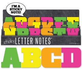 Sticky Notes displayed featuring 18 sticky letters by Crown Jewlz