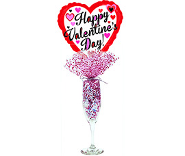 Champagne Glass with 4oz Hersey Kisses and Balloon by Aerial Bouquets