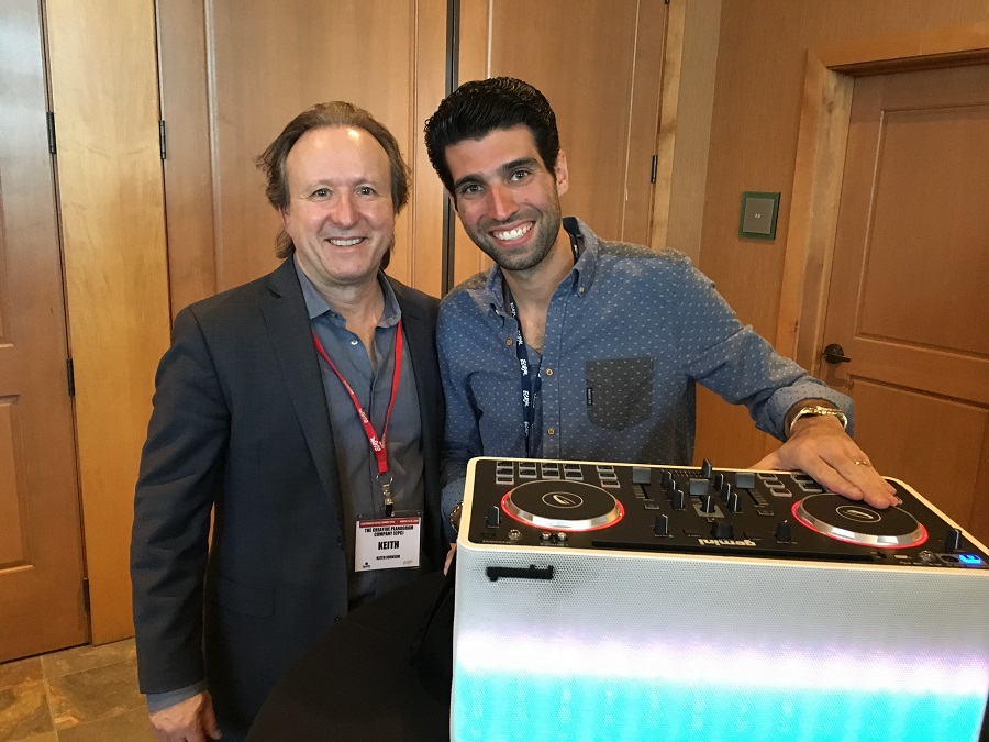 First place winner Ikey Cabasso from Gemini Sound (right) with Keith Johnson from The Creative Planogram Corp.