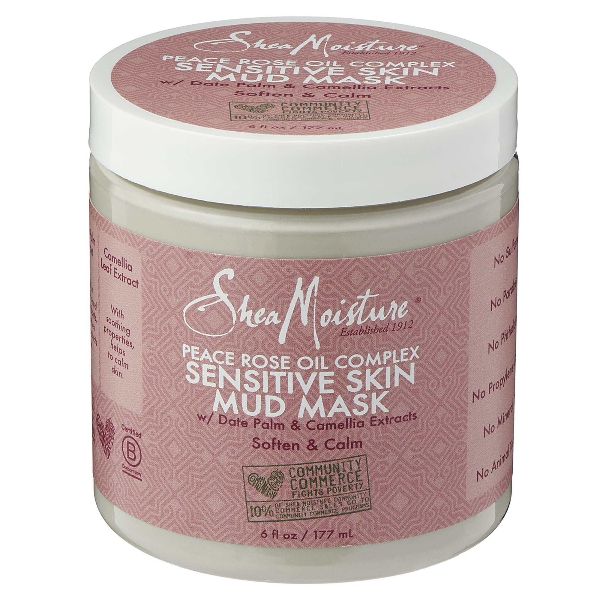 SHEAMOISTURE'S PEACE ROSE OIL COMPLEX SENSITIVE SKIN MUD MASK W/ DATE PALM AND CAMELLIA EXTRACTS by Sundial Brands