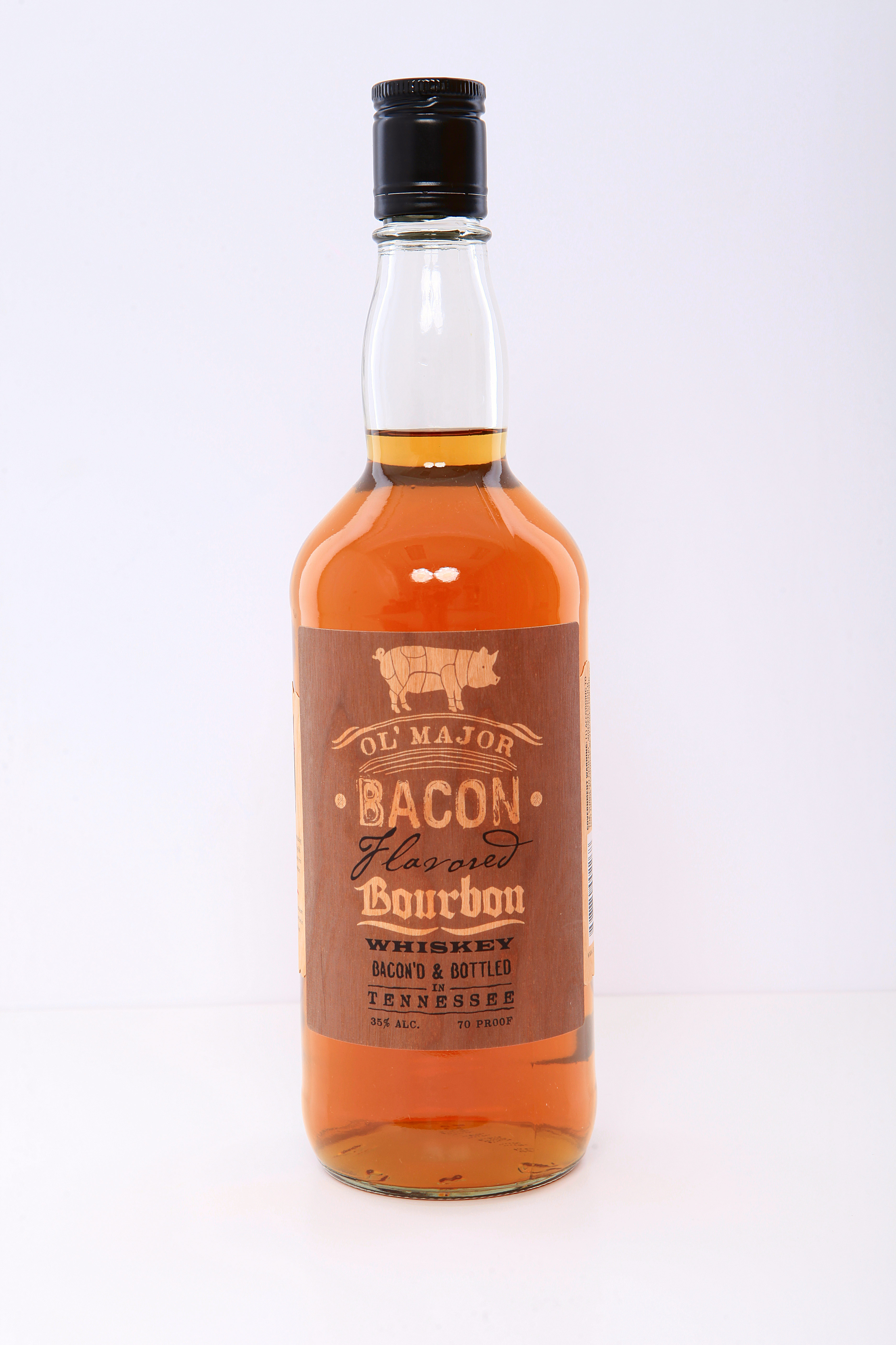 Ol' Major, gold medal bourbon made with real bacon by Branded Spirit USA