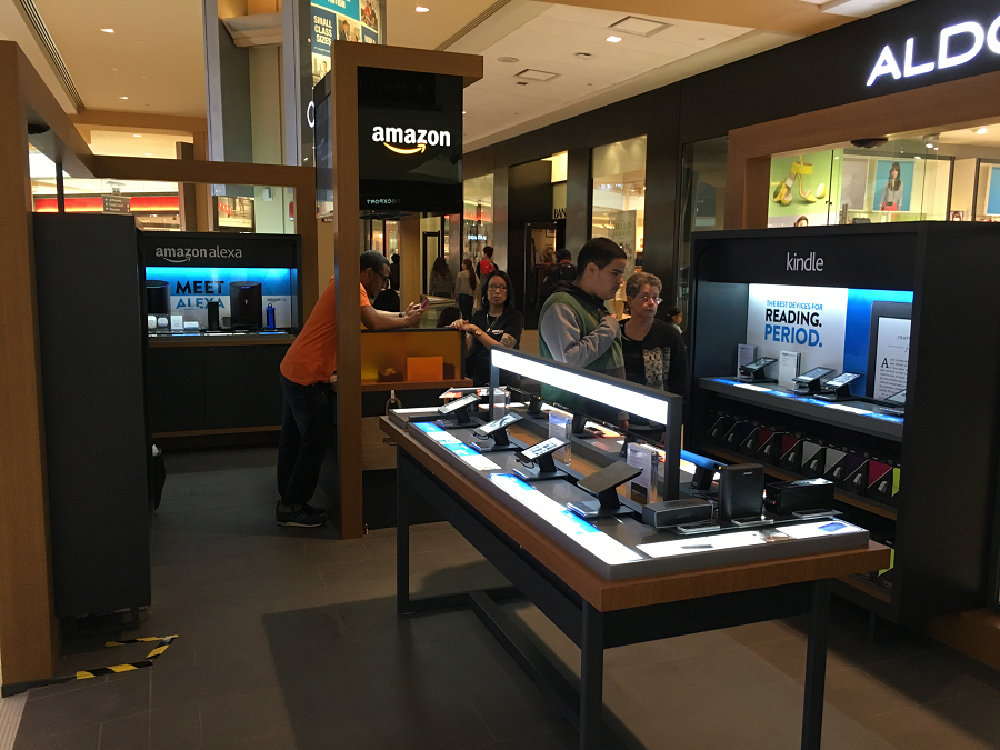 The Amazon Pop-Up shop just opened earlier this month in a prime spot on the street level of the mall.