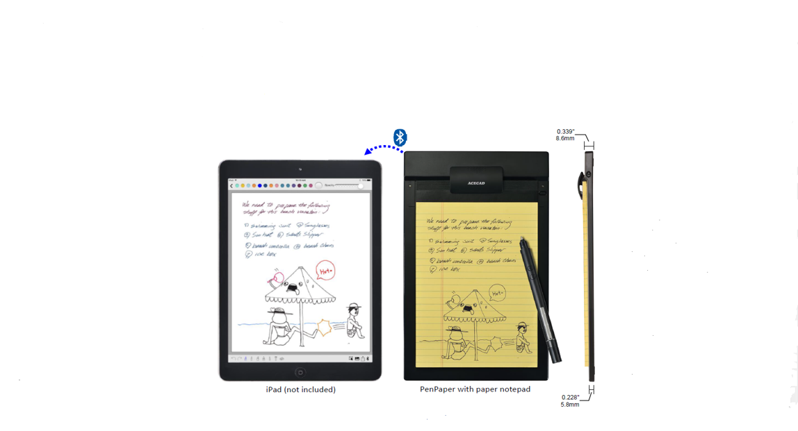 """This BT PENPAPER shares your notes in iPad/Tablets by ACECAD Digital Corp dba Solidtek USA Corp."