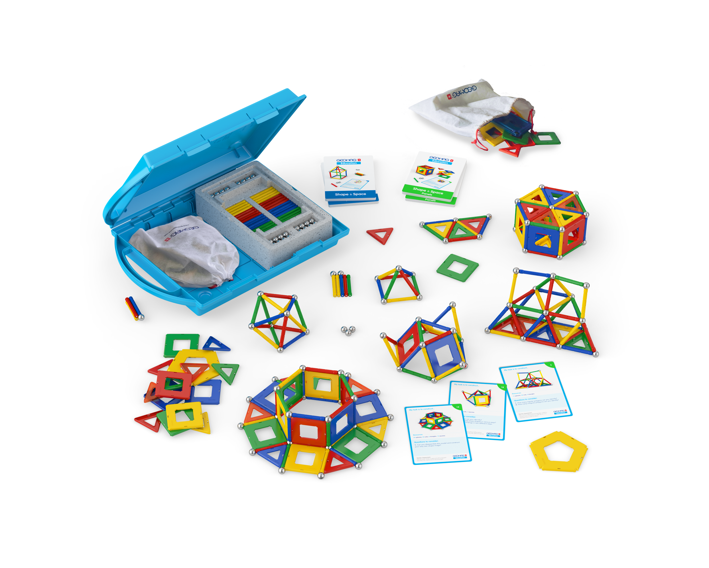 Shape & Space Panels 244 pcs includes 38 task cards by Geomag SA