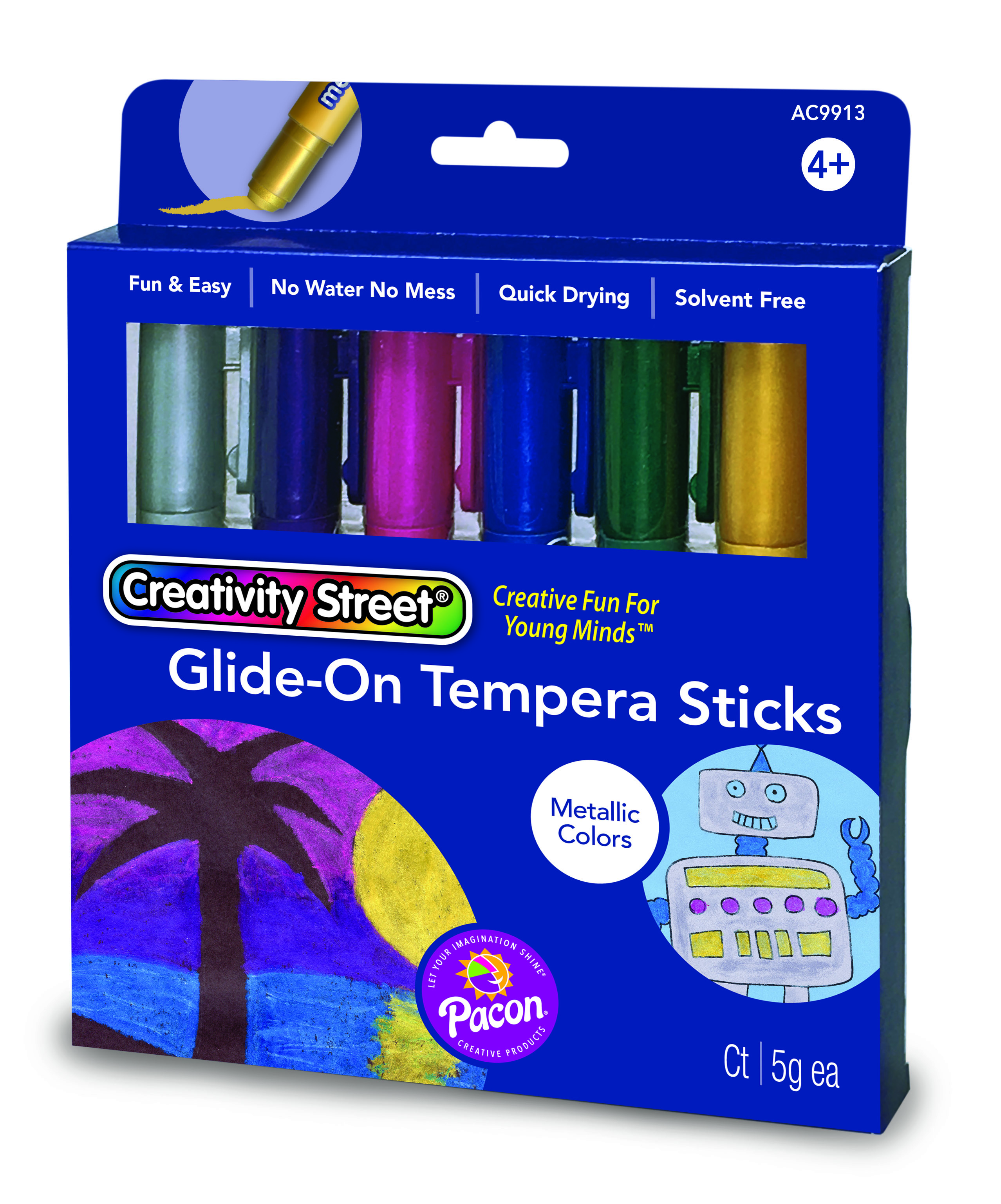 Creativity Street® Glide-On Tempera Sticks, Metallic Colors, 6 Count by Pacon Corporation