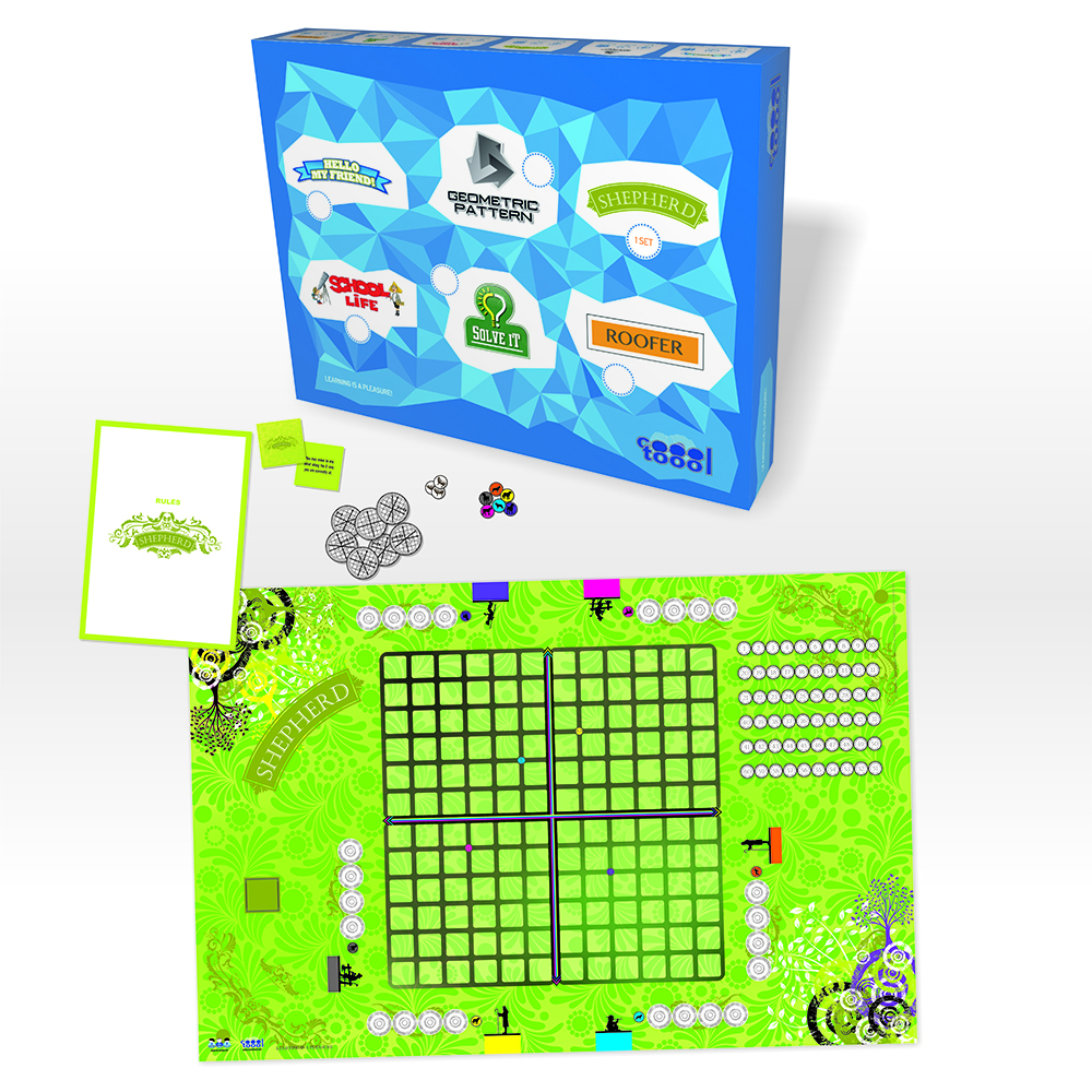 Math Board Games Shepherd, Roofer, MAthrimino, Symmetrix, Geometric Pattern by Viennese Ltd.