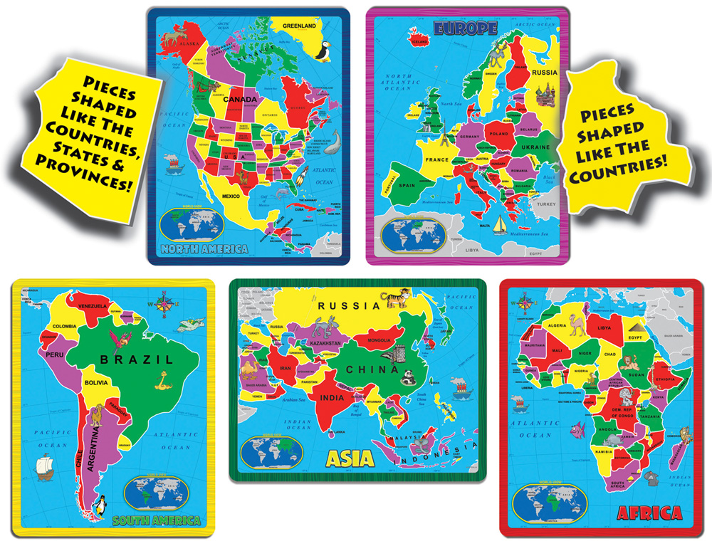The Continent Puzzle Combo Pack (171 pieces in 5 Puzzles) by  A Broader View, Inc.