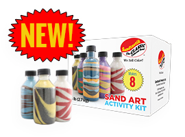 New! Colored sand art party in-a-box! Makes 8 by Sandtastik Products Ltd.