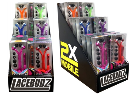 LaceBudz(TM) Earbuds Promotional Shipper by 2X Mobile, Inc
