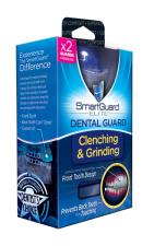 The SmartGuard Elite Dental Guard package shown here does a great job on its front panel. It contains only one major graphic that demonstrates how the product fits on the front teeth, contains limited copy, and only focuses on two key features: preventing the clenching and grinding of teeth. You can even see what is inside the package just by looking at the front panel.