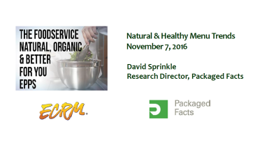 MarketResearch.com's David Sprinkle discussed natural and organic foodservice trends during ECRM's recent Foodservice: Natural, Organic & Better for You EPPS