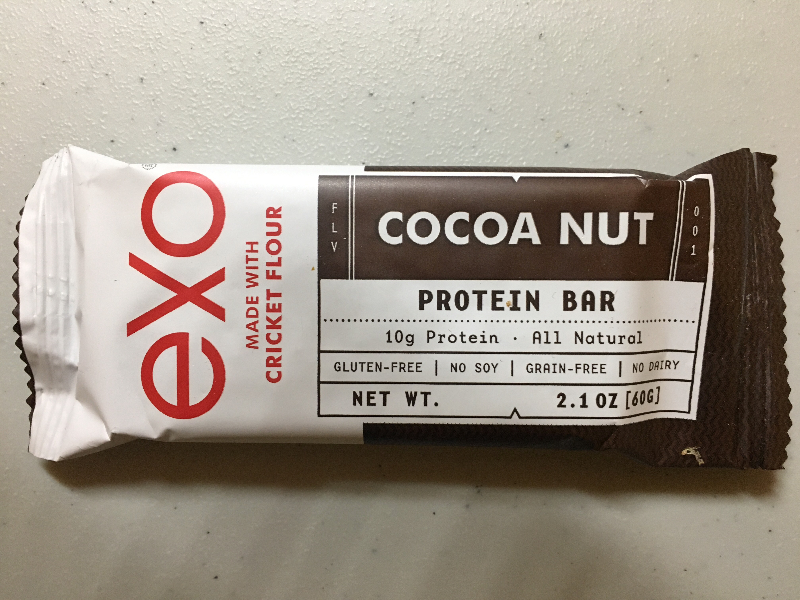 The Exo protein bar made with cricket flour -- 10 grams of protein!