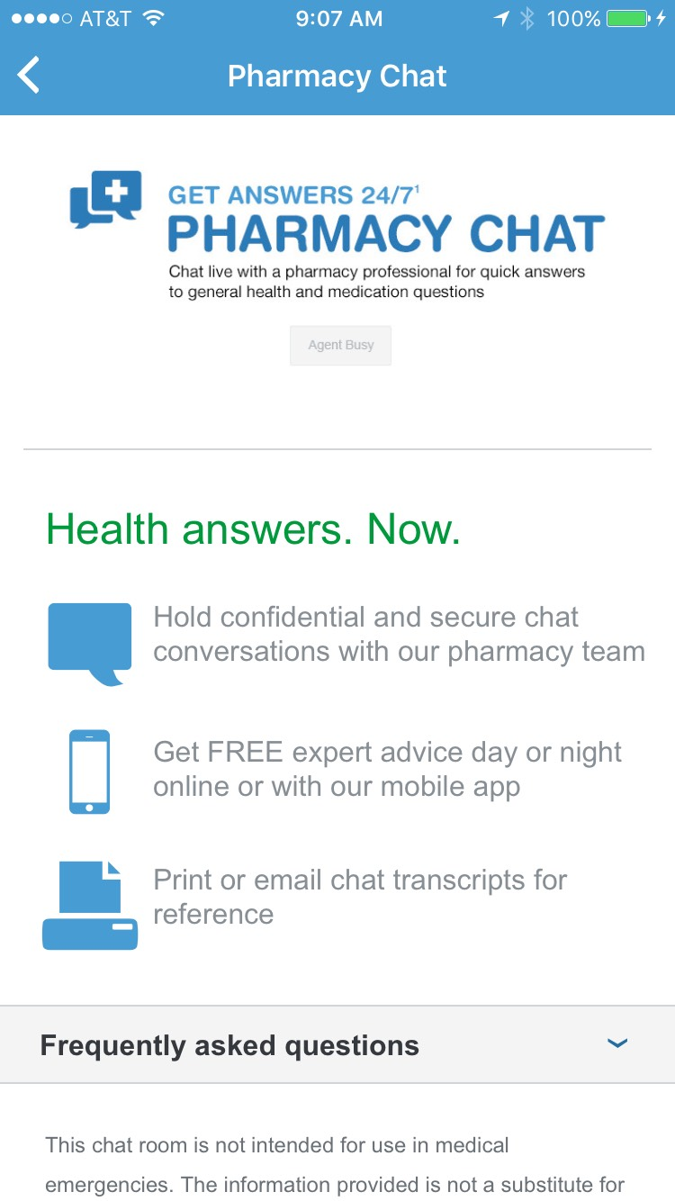 The Pharmacy Chat function enables greater access to pharmacists