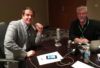 Make48's Tom Gray (left) with TLB Consulting's Timothy Bush recording the podcast on location at ECRM's Impulse, Front-End & Checklane EPPS
