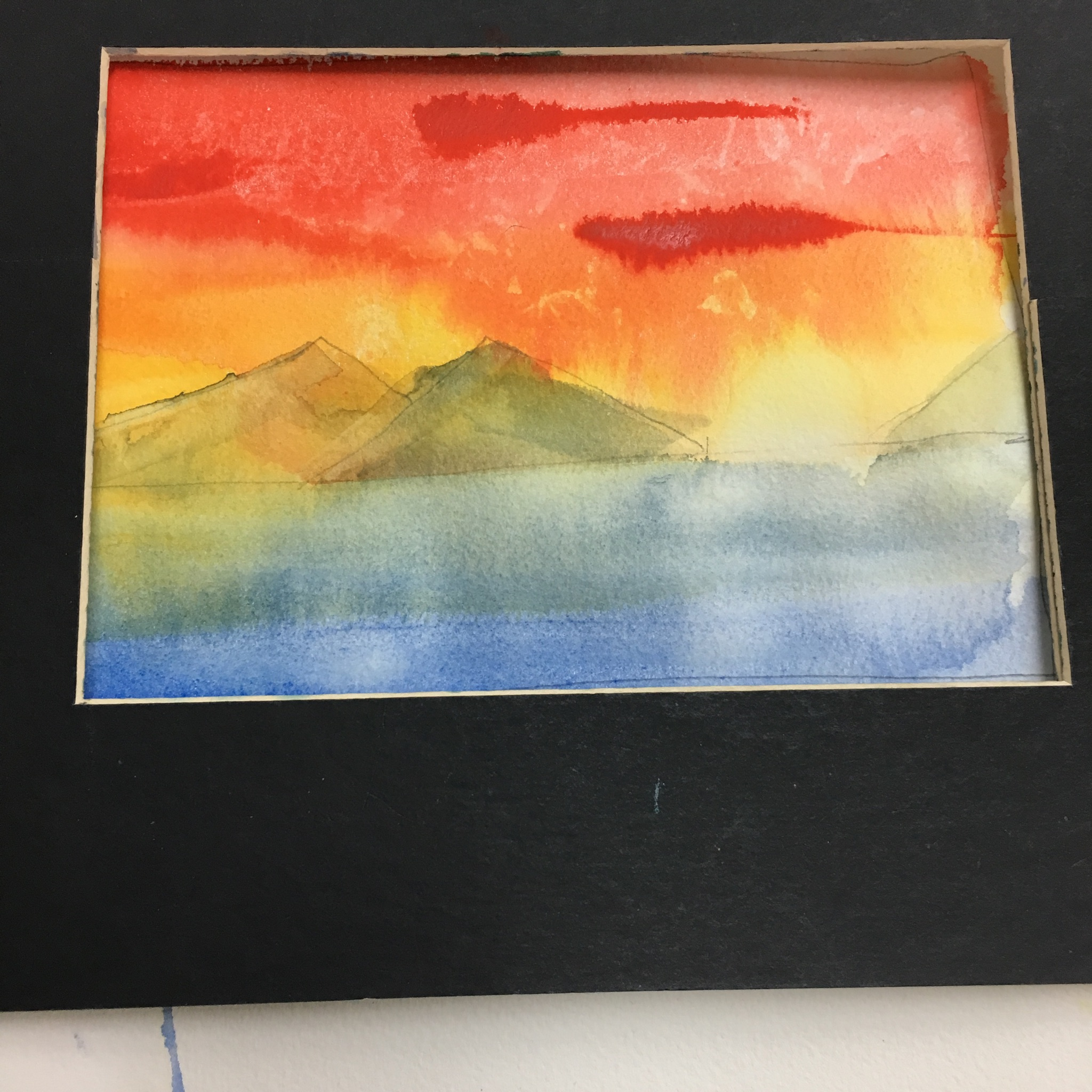 Here is one from a class exercise -- a sunrise (or sunset, could be either)