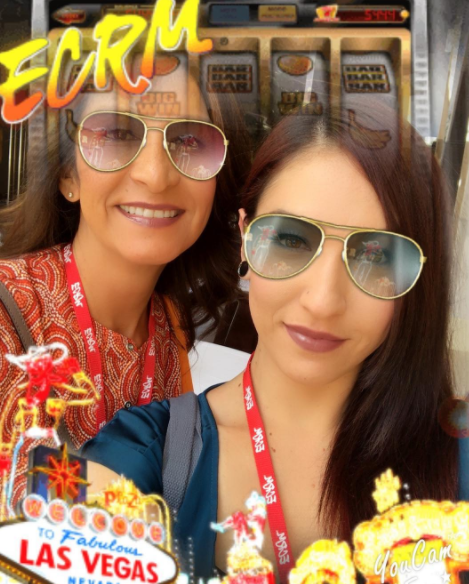 Beauty Store Management's Maria (left) and Dominique Rush won the ECRM-YouCam selfie contest at the EPPS