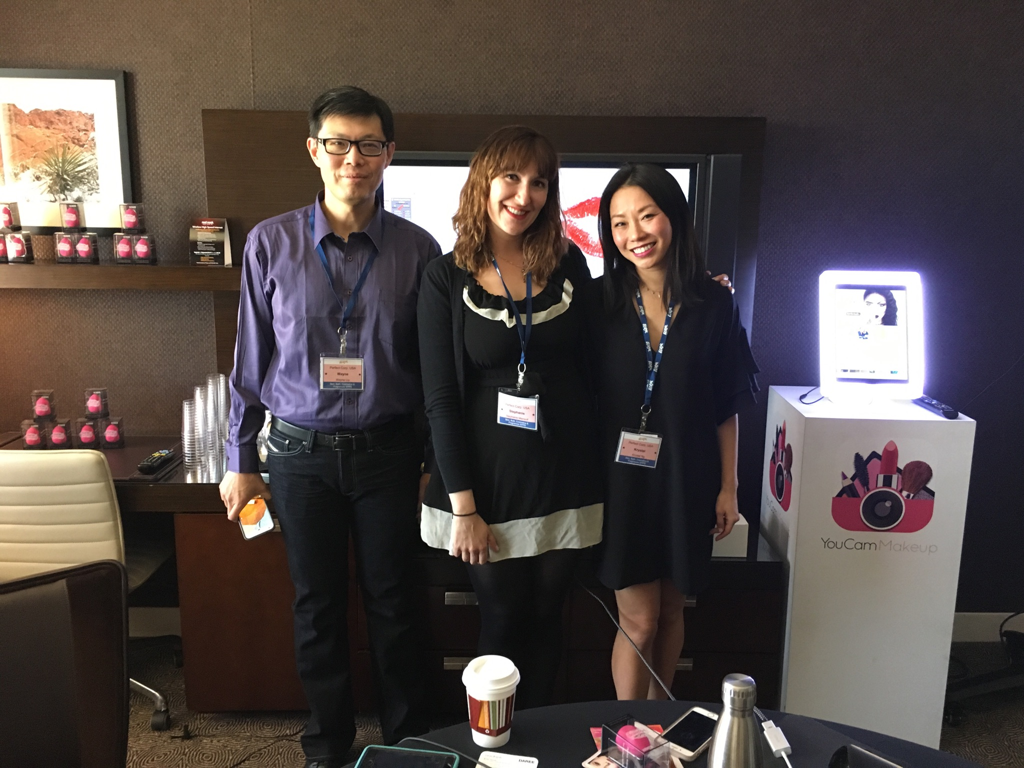 The YouCam team in their meeting suite, where they demoed their tech