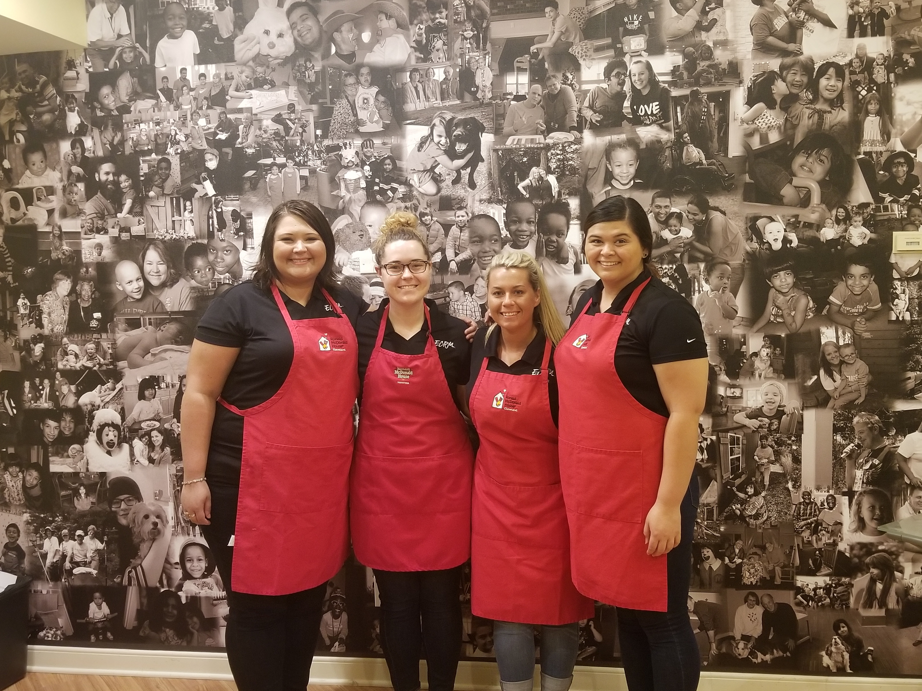 L to R: Ashley Newman, Katie Lehman, Mandi Booth, and Analita Voss at Ronald McDonald House