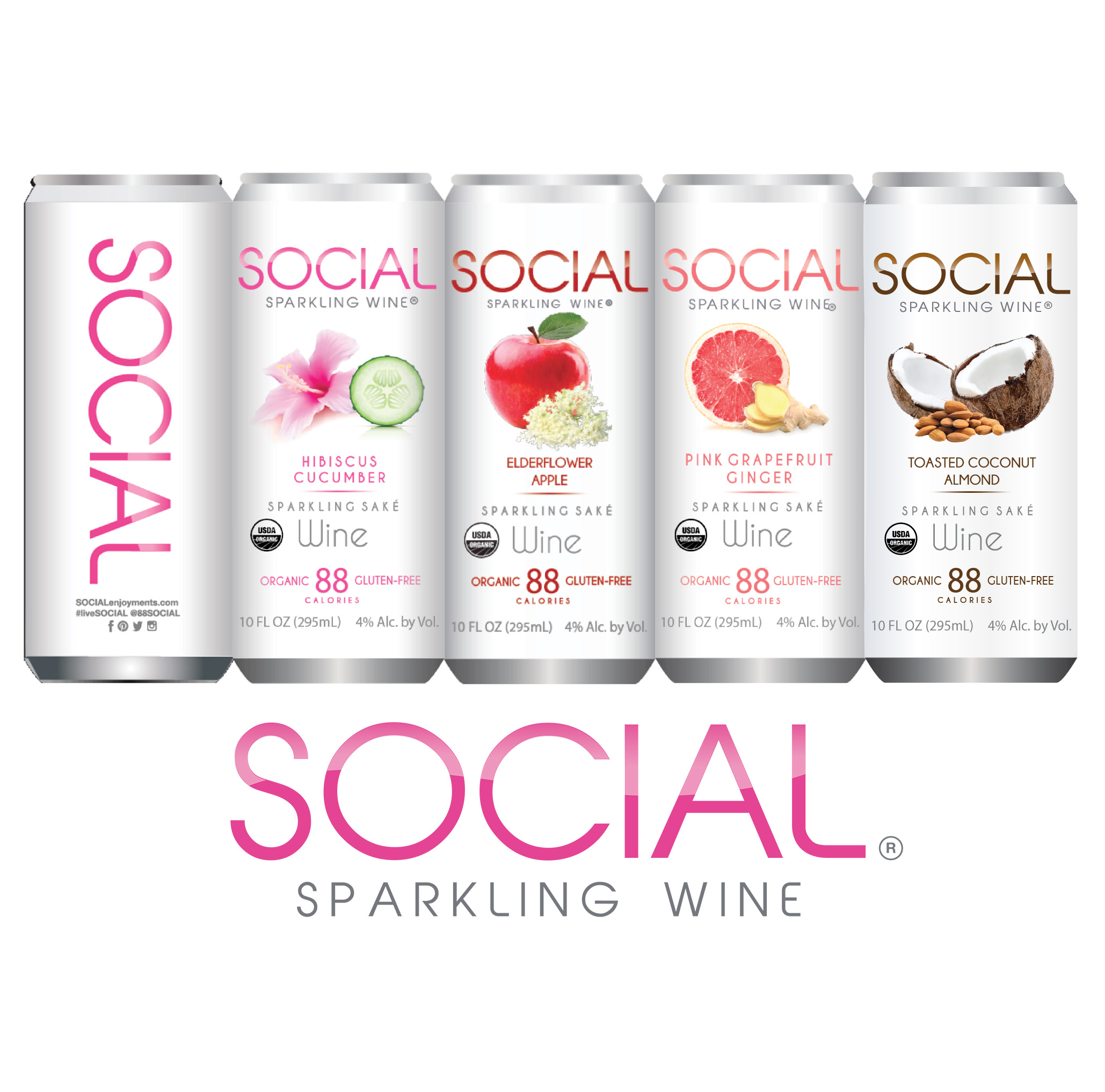 Social Sparkling Wine's line of healthy alcoholic beverages
