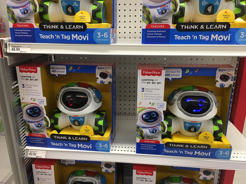 Target's toy endcaps feature interactive toys that grab attention