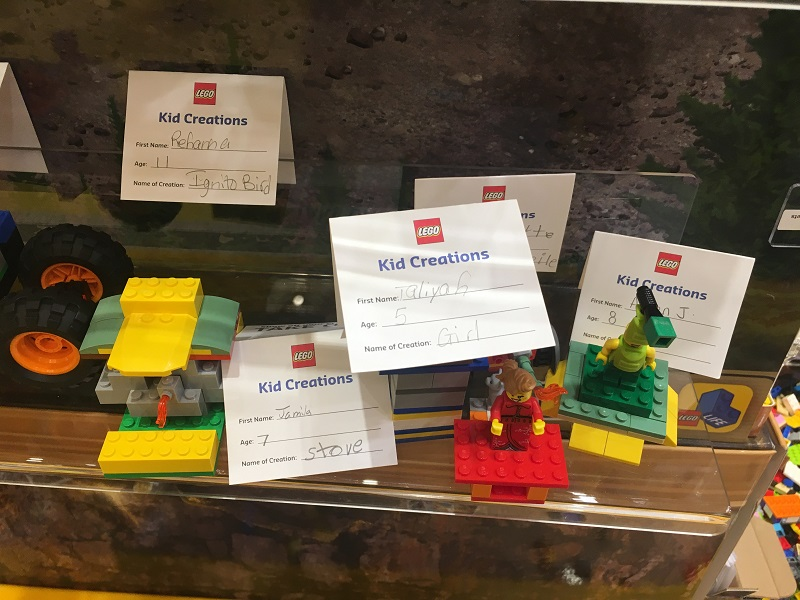 Kids get to showcase their Lego creations on a store display