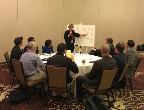 Amber Pharmacy's Julie Zatizabal discusses specialty pharmacy as a class of trade with her roundtable participants during the ECRM Specialty Pharmacy EPPS TIP Discussions